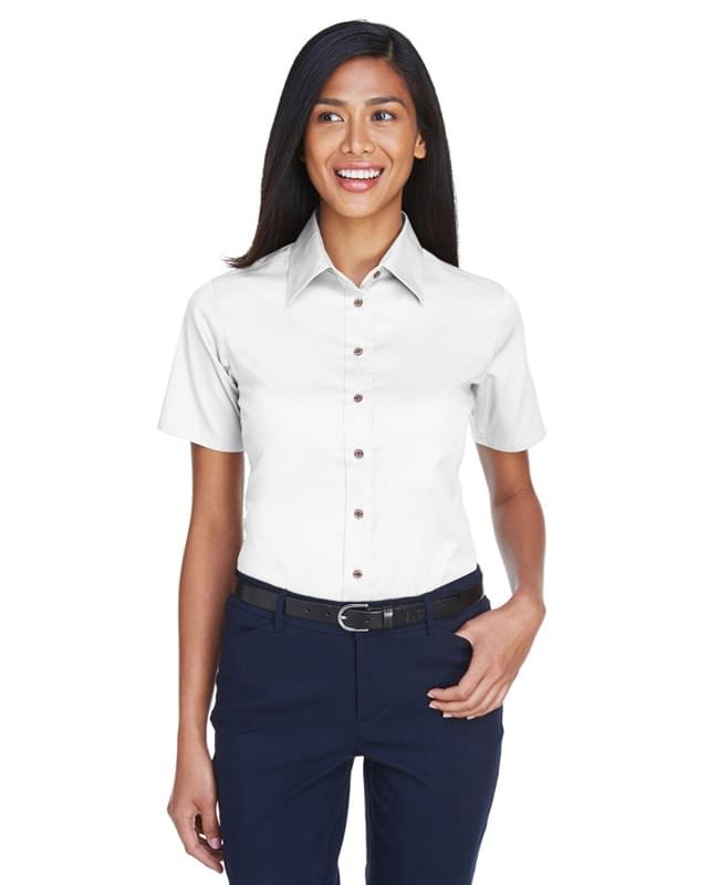 Ladies' Easy Blend Short-Sleeve Twill Shirt withStain-Release