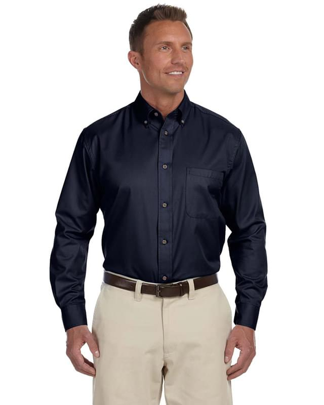 Men's Tall Easy Blend Long-Sleeve Twill Shirt with Stain-Release