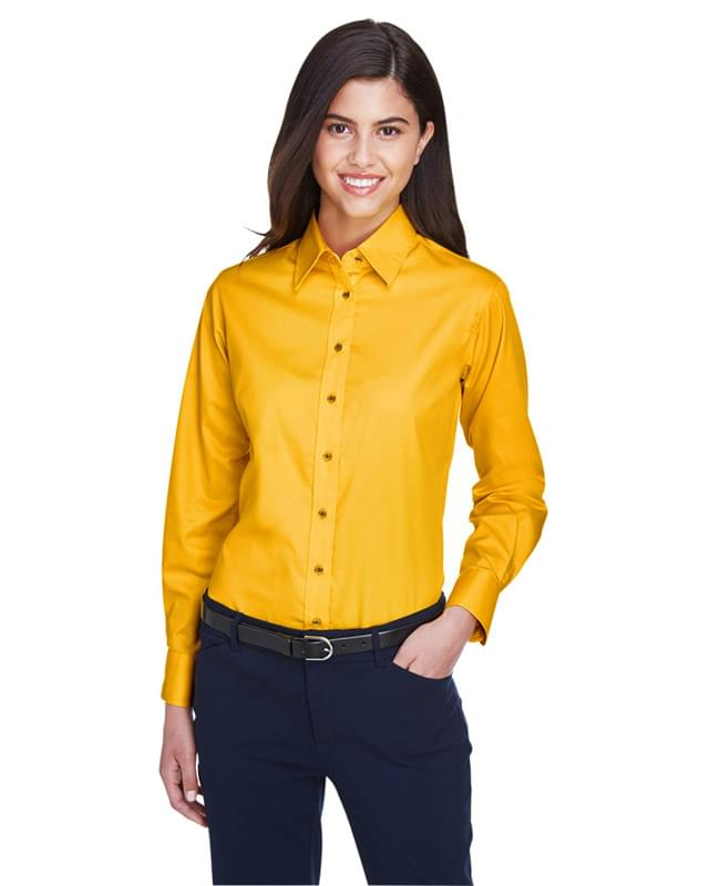 Ladies' Easy Blend Long-Sleeve TwillShirt with Stain-Release