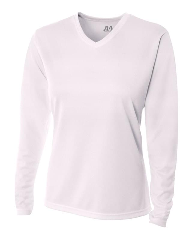 Ladies' Birds-Eye Mesh Long Sleeve V-Neck T-Shirt