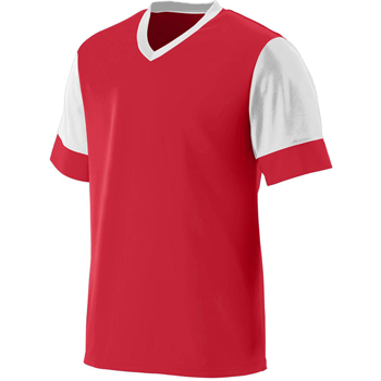 Youth Wicking Polyester V-Neck Jersey with Contrast Sleeves