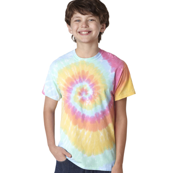 Youth Neon Spiral Rainbow Pigment-Dyed Tee