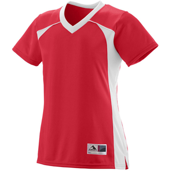Ladies Polyester Mesh V-Neck Short-Sleeve Jersey