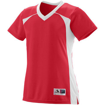 Girls Polyester Mesh V-Neck Short-Sleeve Jersey