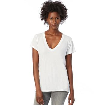 Ladies' Melange Burnout Slinky-Jersey V-Neck T-Shirt