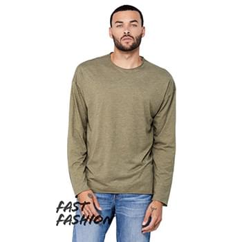 Fast Fashion Unisex Triblend Raw Neck Long-Sleeve T-Shirt