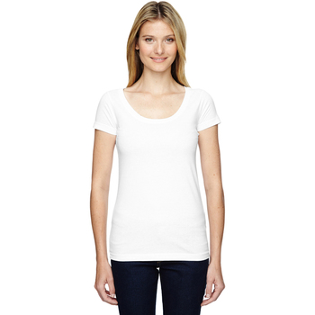Juniors' Fine Jersey Deep Scoop Neck Longer Length T-Shirt