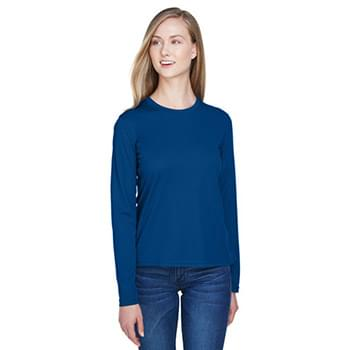 Ladies' Agility Performance Long-Sleeve Piqu Crewneck