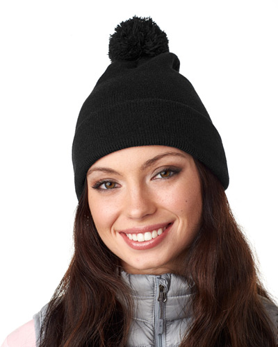 Adult Knit Pom-Pom Beanie with Cuff