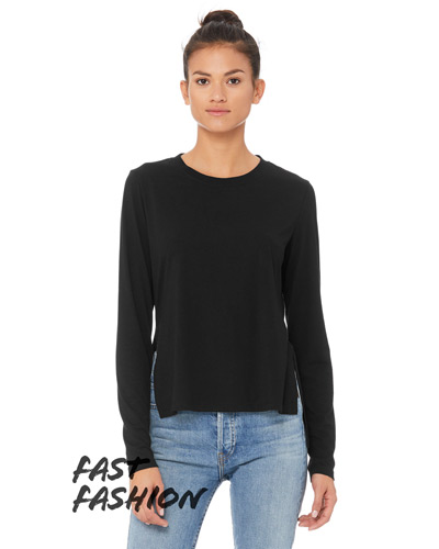 Fast Fashion Ladies' Side Slit Long-Sleeve T-Shirt