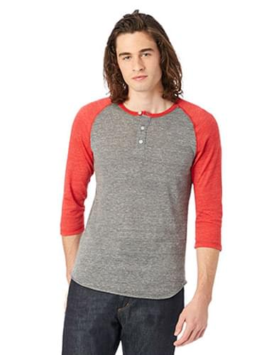 Men's Eco-Jersey 3/4-Sleeve Raglan Henley