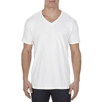 Adult 4.3 oz., Ringspun Cotton V-Neck T-Shirt