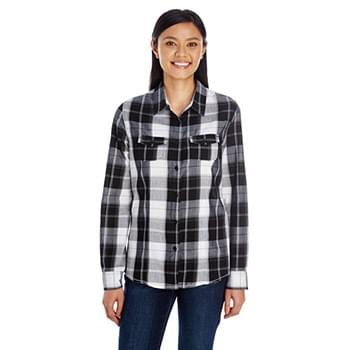 Ladies' Long-Sleeve Plaid Pattern Woven Shirt