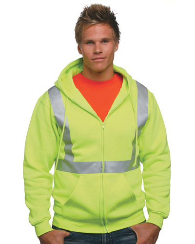 80/20 Heavyweight Hi-Visibility Solid Striping Full-Zip Hooded Sweatshirt