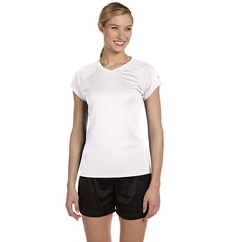 Ladies' 4.1 oz. Double Dry V-Neck T-Shirt
