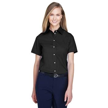 Ladies' Crown Woven Collection Solid Broadcloth Short-Sleeve Shirt