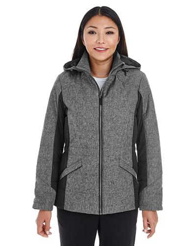 Ladies' Midtown Insulated Fabric-Block Jacket with Crosshatch Mlange