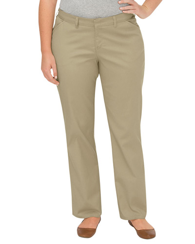Ladies' Premium Plus-Size Curvy Fit Straight-Leg Flat Front Pant