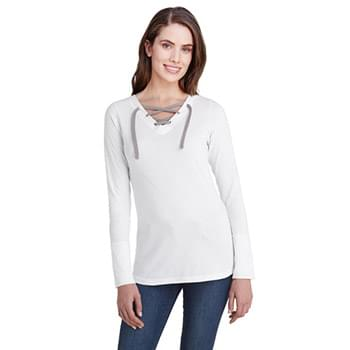Ladies' Long-Sleeve Fine Jersey Lace-Up T-Shirt