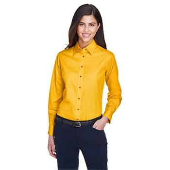 Ladies' Easy Blend Long-Sleeve Twill Shirt with Stain-Release