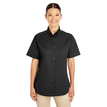 Ladies' Foundation 100% Cotton Short-Sleeve Twill Shirt with Teflon