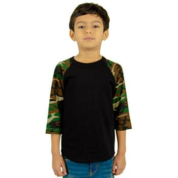 Youth 5.9 oz., 3/4-Sleeve Camo Raglan T-Shirt