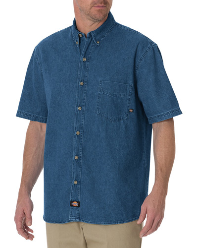 Men's Tall Short-Sleeve Denim Shirt